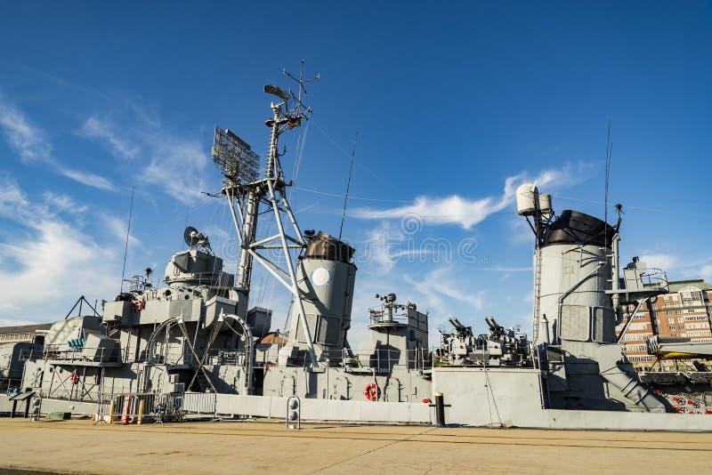 Jeune DD-793 Charlestown arsenal de la marine d'USS Cassin, Boston image libre de droits
