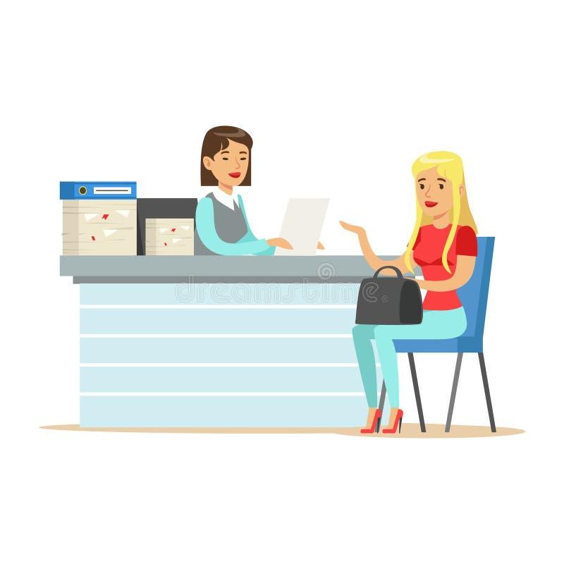 Jeune demandeur de travail de entrevue de femme d'affaires au bureau dans l'illustration de vecteur de bureau illustration stock