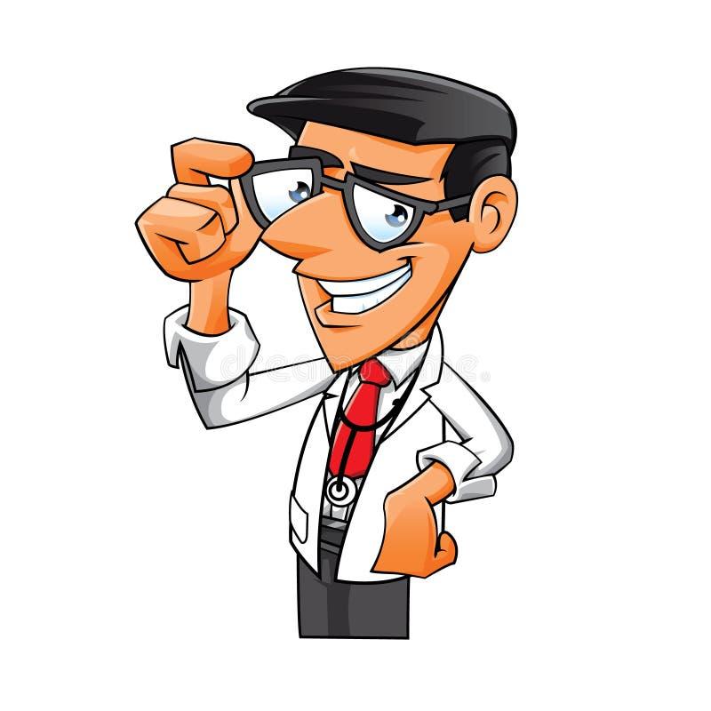 Jeune docteur avec des verres illustration de vecteur