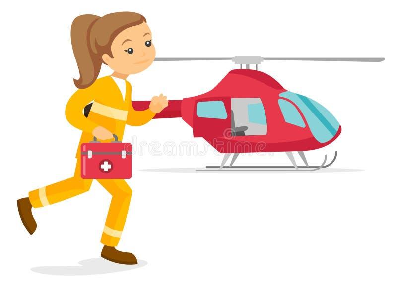 Jeune docteur blanc caucasien d'ambulance aérienne illustration libre de droits