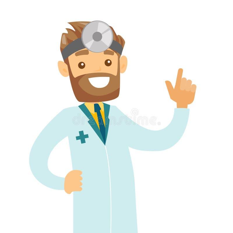 Jeune docteur blanc caucasien d'oto-rhino-laryngologiste illustration de vecteur