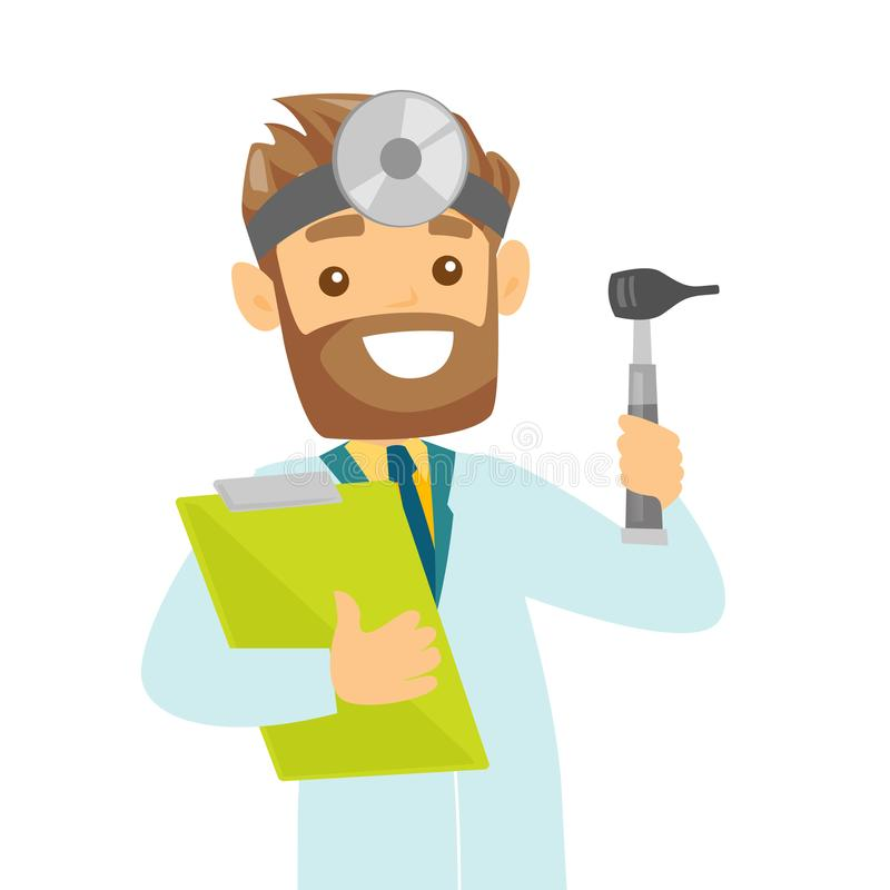Jeune docteur blanc caucasien d'oto-rhino-laryngologiste illustration stock