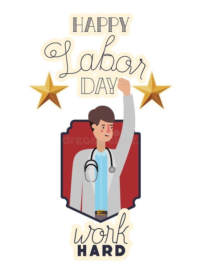 Jeune docteur célébrant le caractère d'avatar de Fête du travail illustration de vecteur