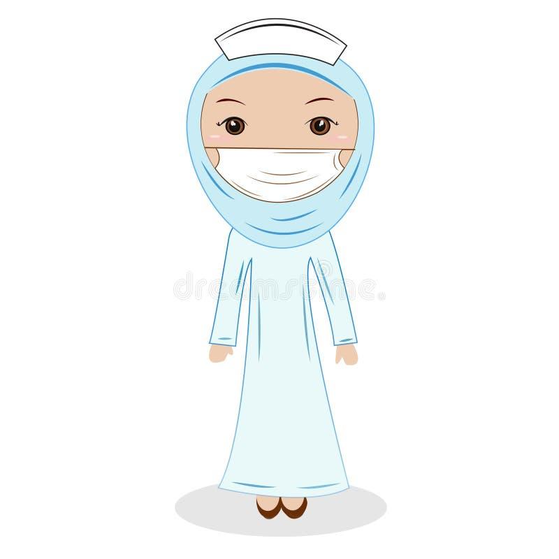 Jeune docteur (féminin) de Muslimah d'Asiatique portant un hijab illustration libre de droits