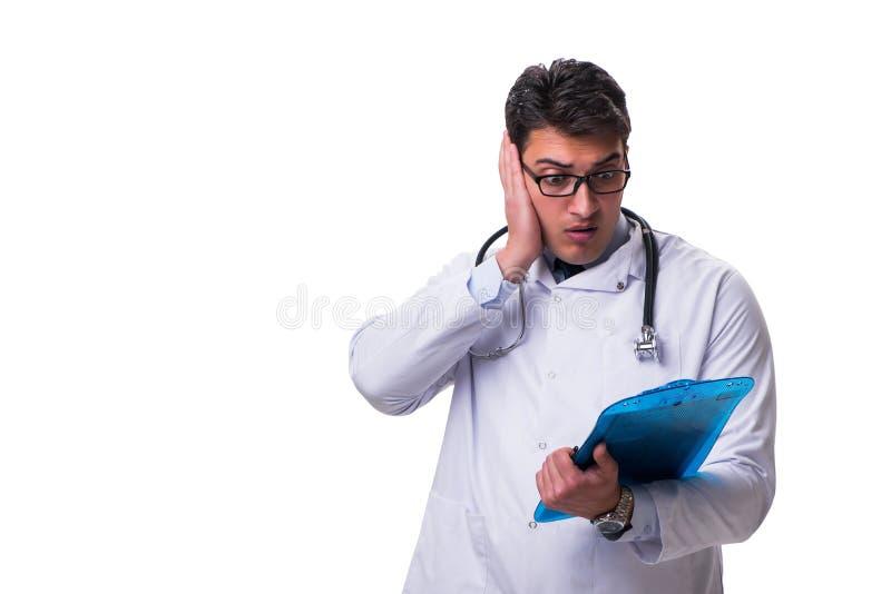 Jeune docteur masculin avec un conseil d'écriture d'isolement sur le backgro blanc images stock