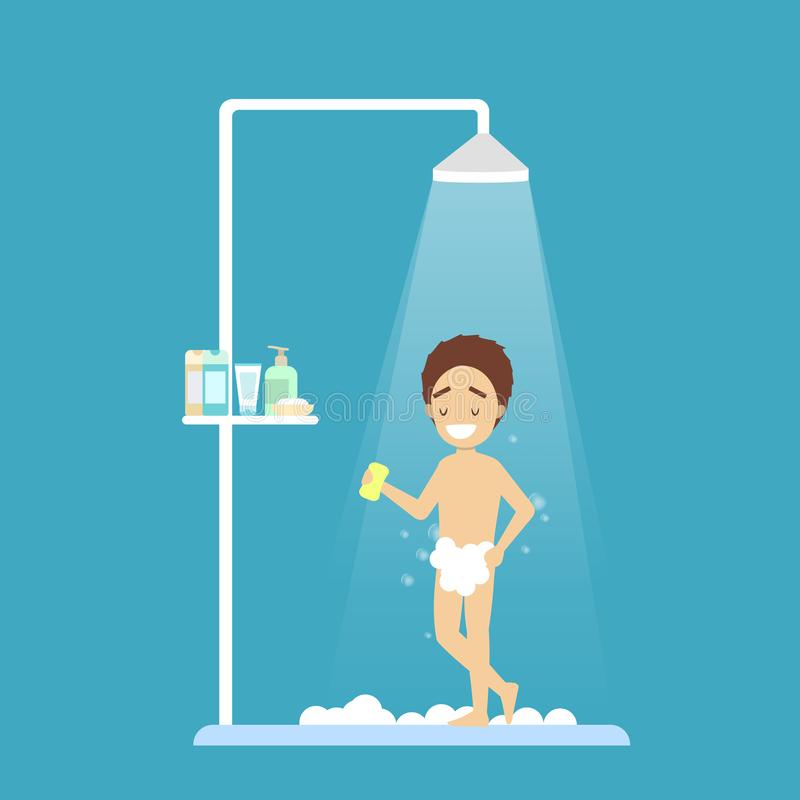 Jeune douche de prise de garçon dans la salle de bains illustration stock