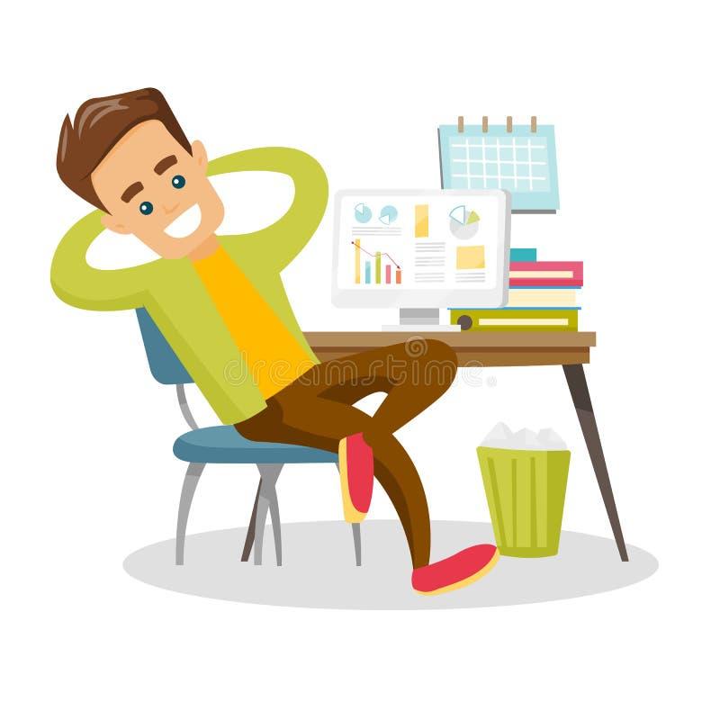Jeune employé blanc caucasien détendant dans le bureau illustration stock