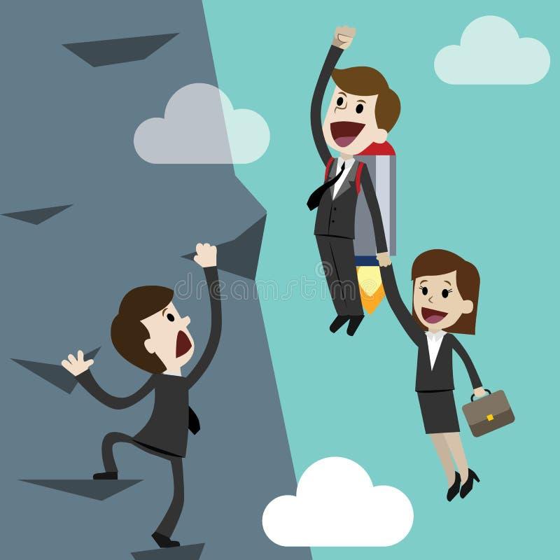 Jeune entreprise, illustration plate de conception Homme d'affaires et femme d'affaires sur une fusée Team le travail illustration stock