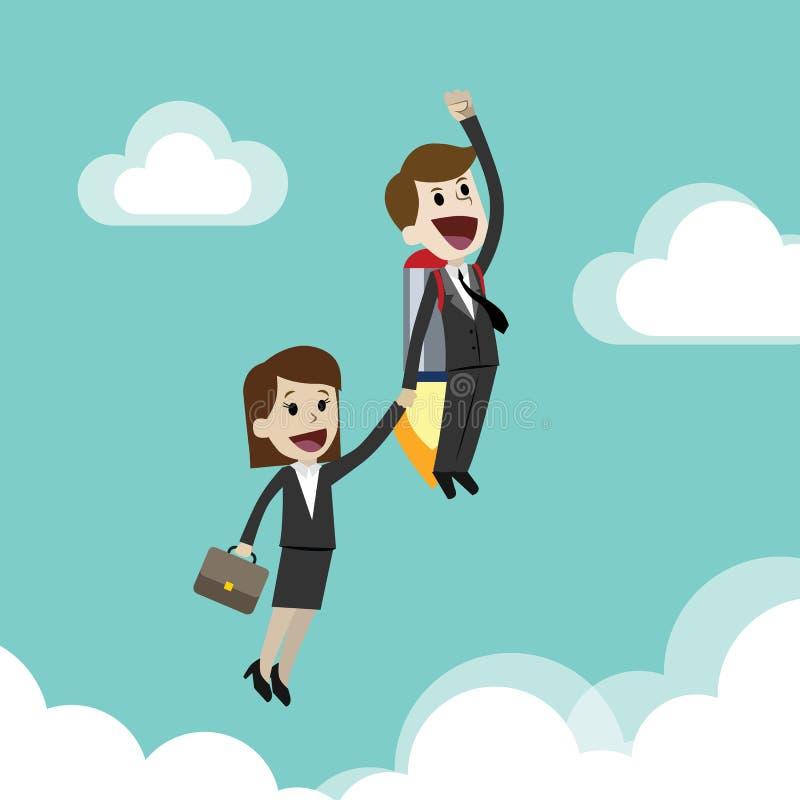 Jeune entreprise, illustration plate de conception Homme d'affaires et femme d'affaires sur une fusée Team le travail illustration libre de droits