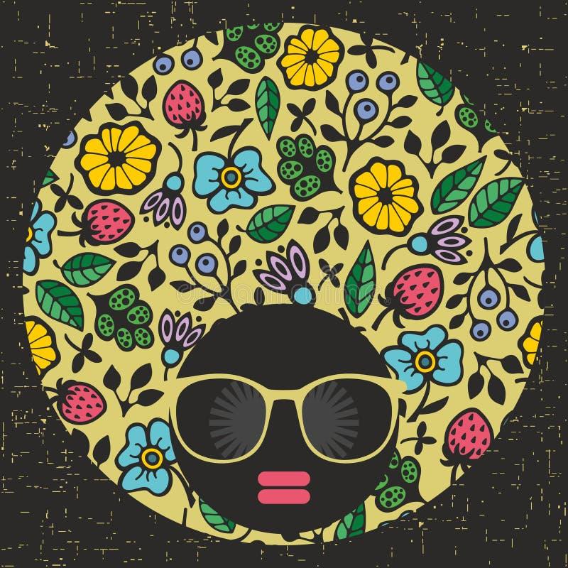 Jeune et jolie fille principale noire avec la robe créative de cheveux illustration stock