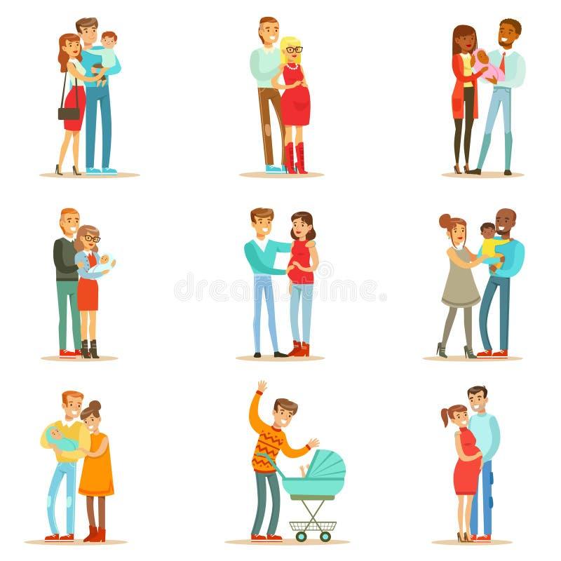Jeune et s'attendant à des parents avec de petits bébés et enfants en bas âge réglés de pleins portraits heureux de famille illustration stock