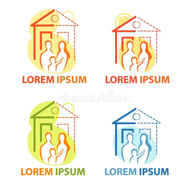 Jeune famille à la maison, vecteur d'isolement Nouvelle maison, propre ensemble d'icône de maison, logo de pendaison de crémaillè illustration libre de droits