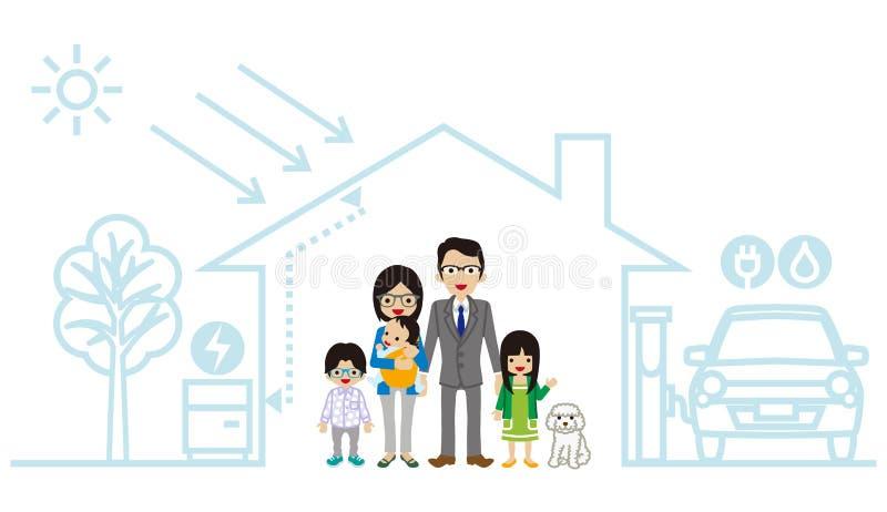 Jeune famille asiatique dans la Chambre futuriste illustration libre de droits
