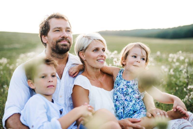 Jeune famille avec de petits enfants en nature d'été au coucher du soleil, se reposant dans l'herbe photo stock