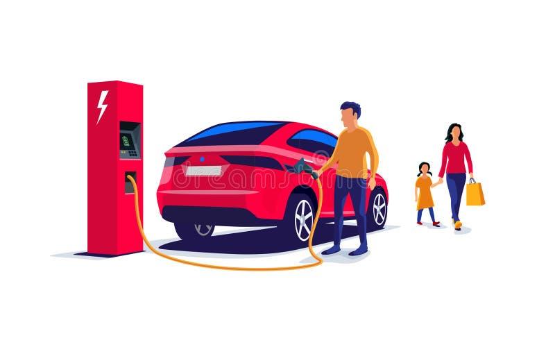 Jeune famille avec une voiture électrique de remplissage Suv illustration de vecteur