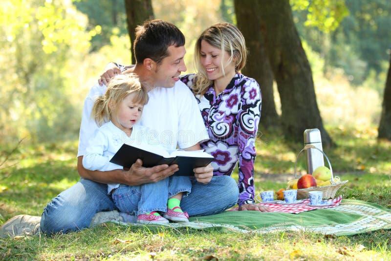 Jeune famille ayant un pique-nique en nature photographie stock