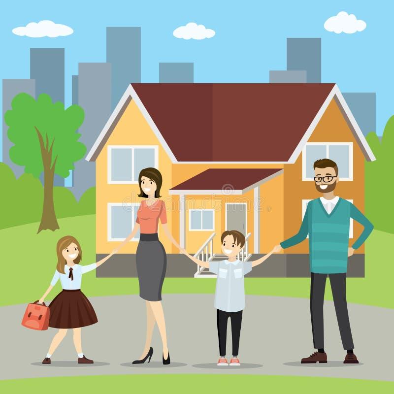 Jeune famille caucasienne heureuse avec des enfants, maison de famille nombreuse dedans illustration de vecteur