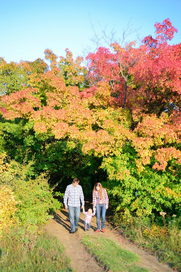 Jeune famille dans la forêt d'automne images libres de droits