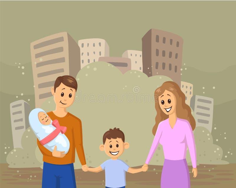 Jeune famille de sourire avec des enfants sur le fond poussiéreux de ville Problèmes sociaux, guerre, immigration, écologie Vecte illustration de vecteur