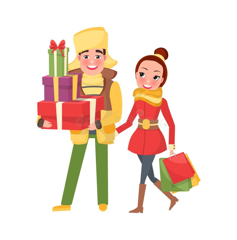 Jeune famille heureuse étant prête à Noël Ève illustration stock