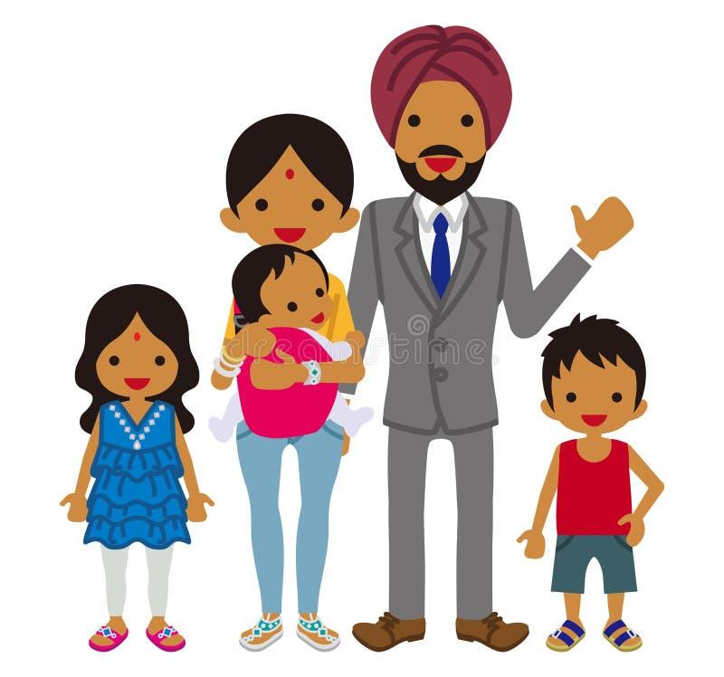 Jeune famille - Indien illustration stock