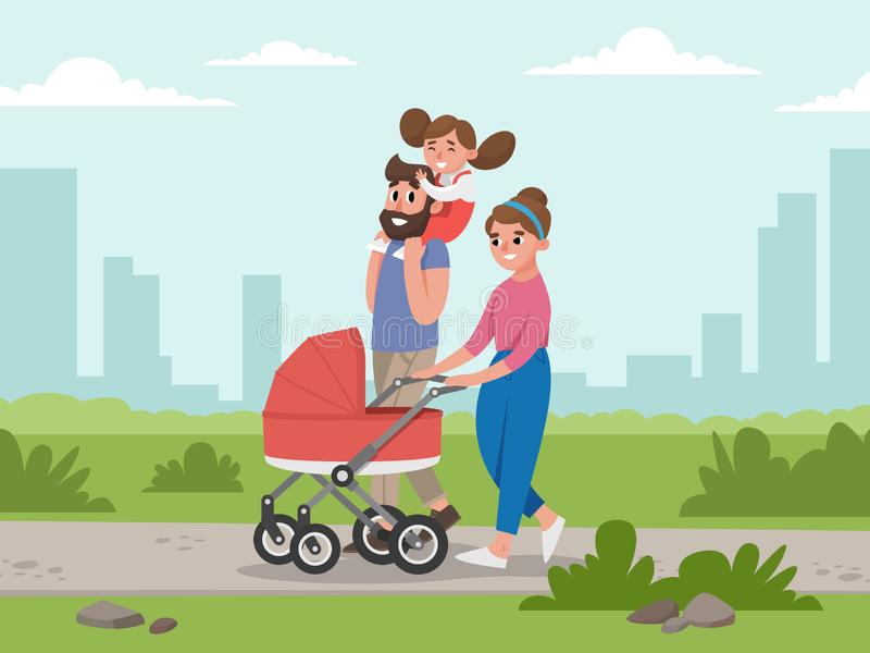 Jeune famille mignonne pour la promenade Maman, papa, fille et bébé dans la voiture d'enfant illustration stock