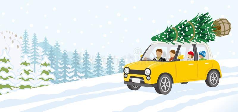 Jeune famille montant la voiture qui a chargé l'arbre de Noël - WI illustration stock