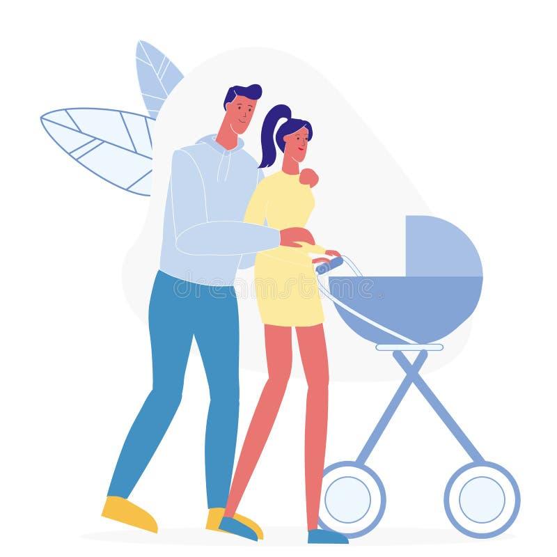 Jeune famille sur l'illustration plate de vecteur de balade illustration stock
