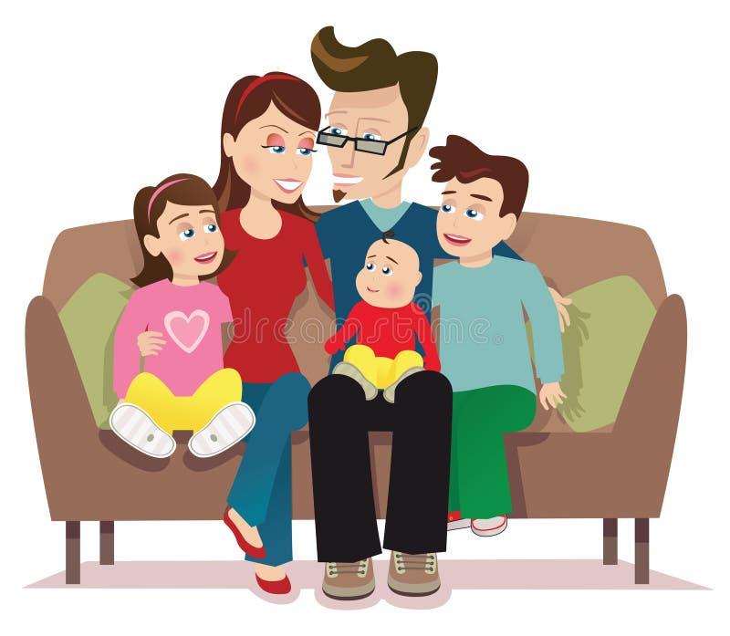 Jeune famille sur le sofa dans la chambre rose 3 illustration de vecteur