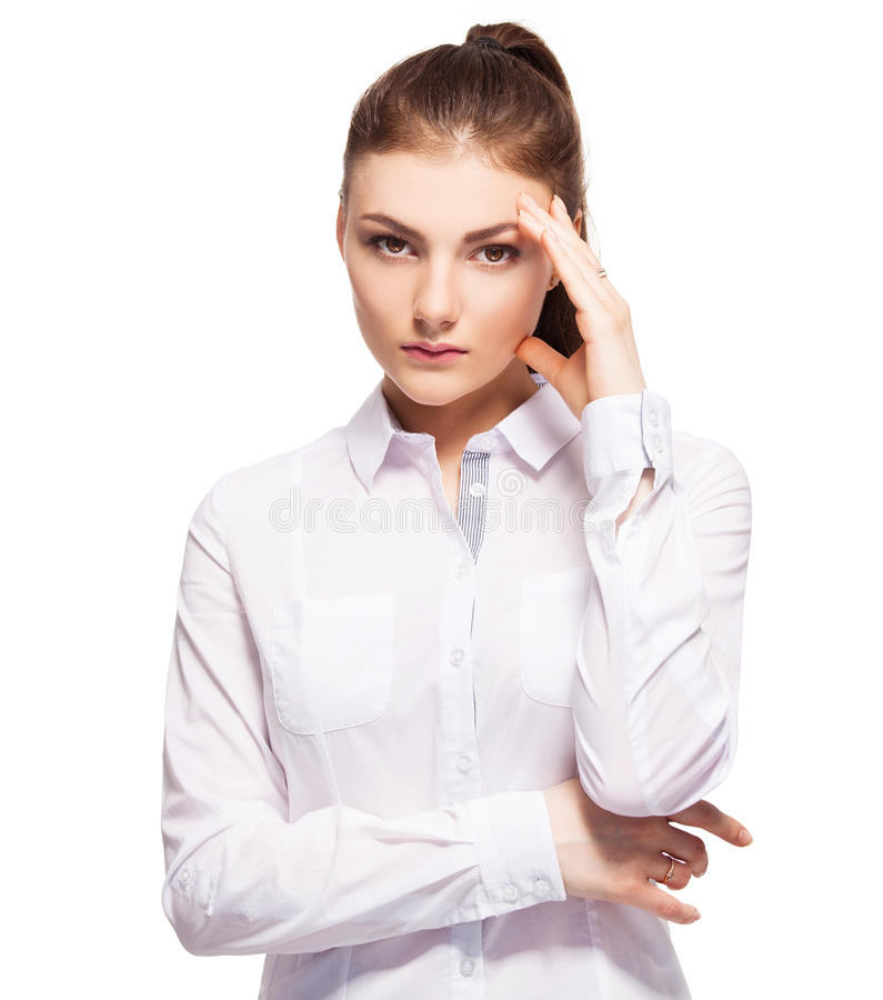 Jeune femelle au fond blanc image libre de droits