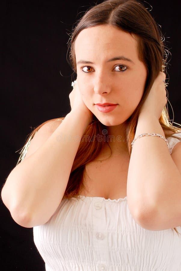 Jeune femelle dans le blanc photos libres de droits