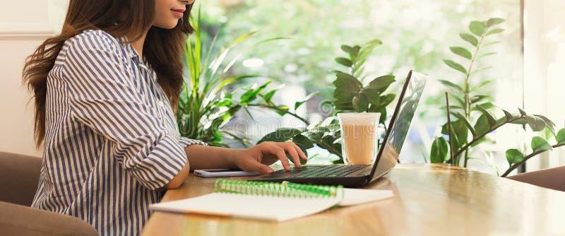 Jeune femme à l'aide de l'ordinateur portable en café et buvant du café photo stock