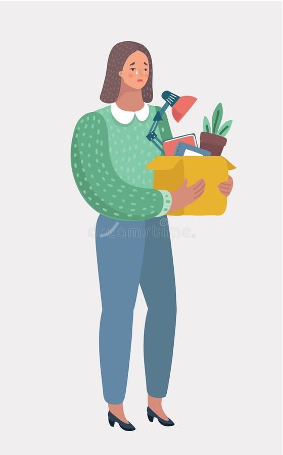Jeune femme écartée du travail dans le bureau illustration de vecteur