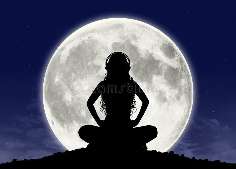 Jeune femme écoutant la musique à la pleine lune illustration stock