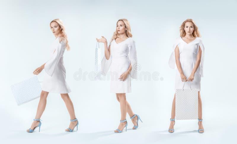 Jeune femme élégante dans trois poses en une photo images libres de droits