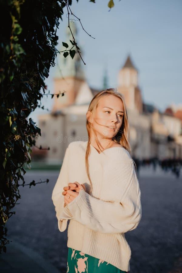Jeune femme élégante dans une rue de ville sur la lumière du soleil photos stock