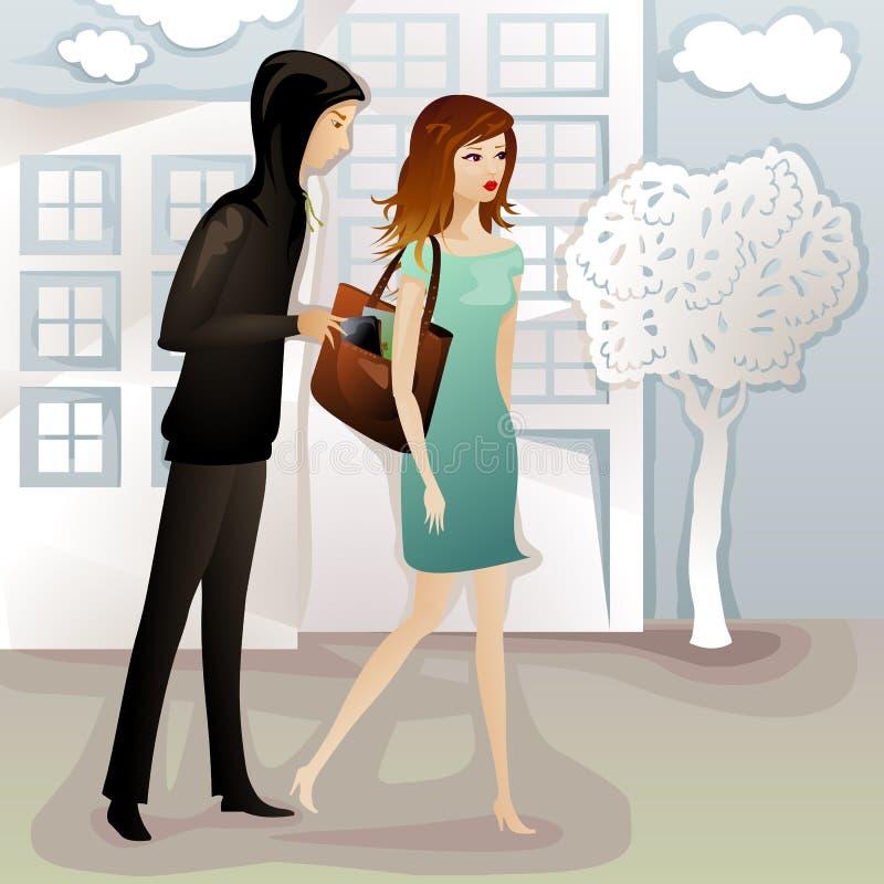 Jeune femme étant revêtue d'une robe illustration stock