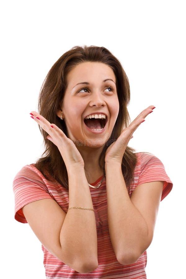 Jeune femme étonné et heureux photographie stock libre de droits