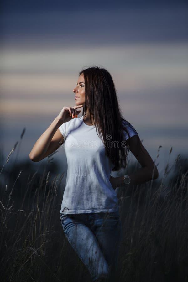 Download Jeune femme 20 photo stock. Image du beau, jeans, normal - 77161922