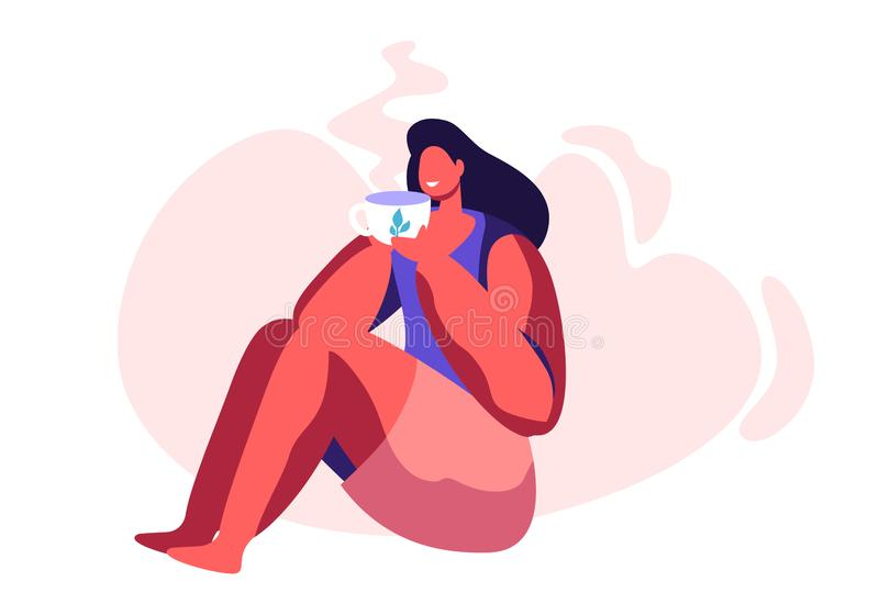 Jeune femme adorable s'asseyant sur le plancher appréciant la tasse de thé ou de café Personnage féminin détendant avec la tasse  illustration stock