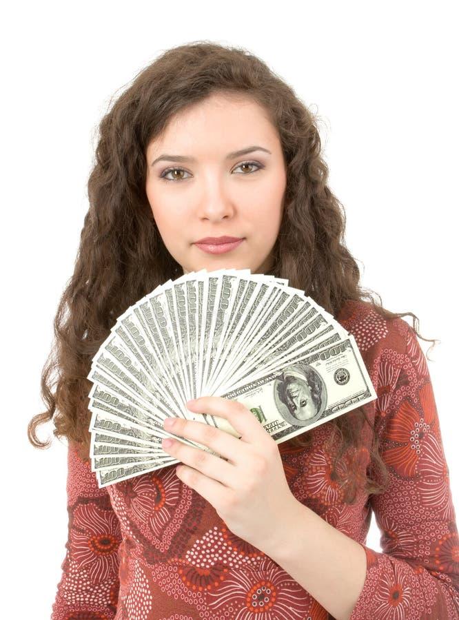 Jeune femme affichant l'argent photographie stock libre de droits