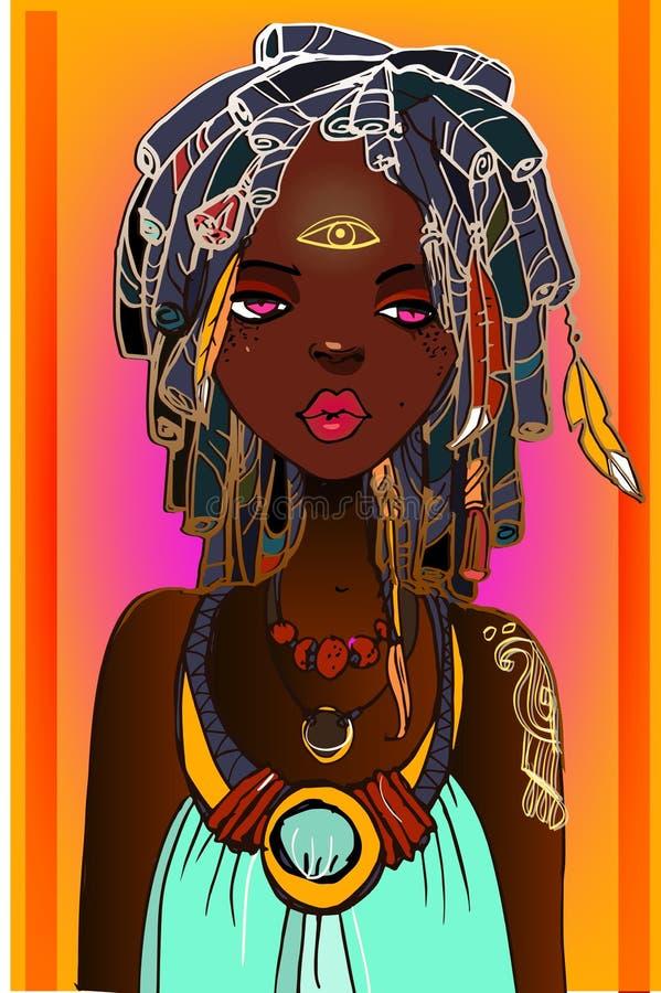 Jeune femme africaine illustration de vecteur