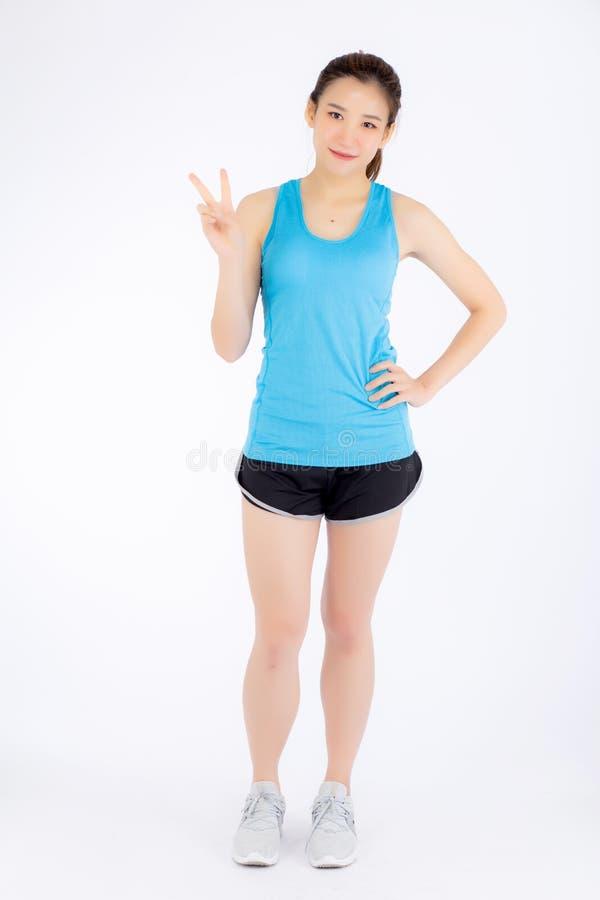 Jeune femme asiatique de beau portrait intégral heureuse et sourire photos stock