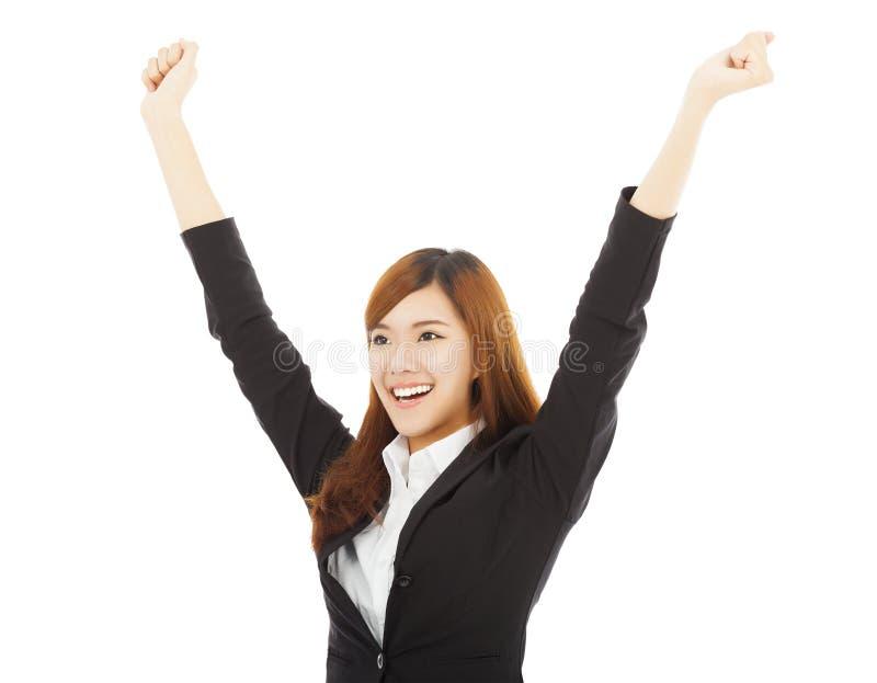 Jeune femme asiatique heureuse d'affaires avec le geste de succès images stock