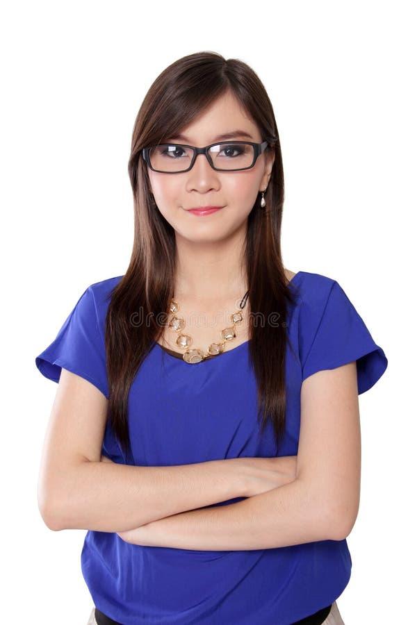 Jeune femme asiatique réussie d'entrepreneur, sur le blanc photo stock