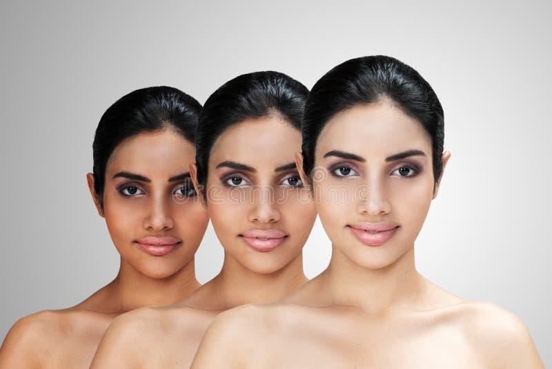 Jeune femme attirante asiatique avec l'éclairage de peau ou le concept facial de rajeunissement images stock