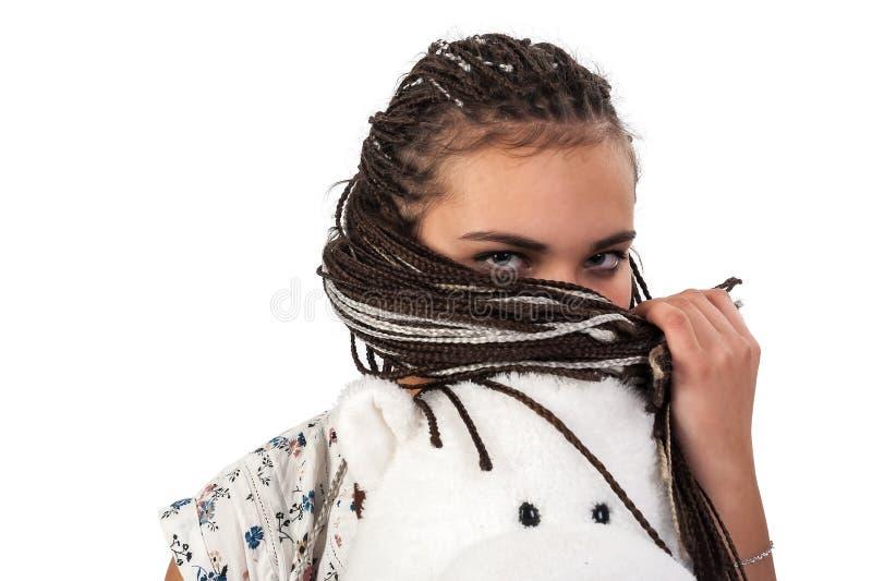 Jeune femme attirante avec les tresses africaines photographie stock