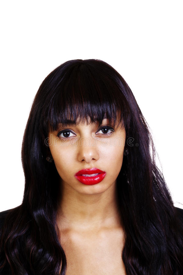 Jeune femme attirante maigre d'Afro-américain de portrait images stock
