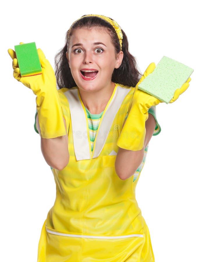 Jeune femme au foyer fatiguée image libre de droits