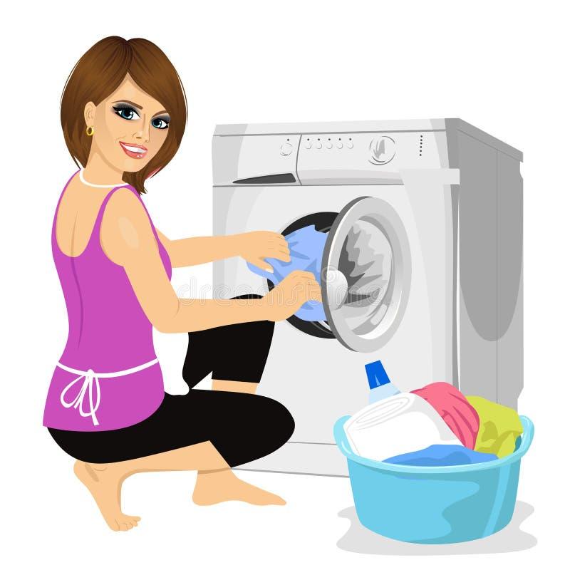 Jeune femme au foyer mettant un tissu dans la machine à laver illustration stock